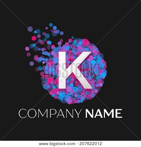 Realistic Letter K logo with blue, purple, pink particles and bubble dots in circle on black background. Vector template for your design