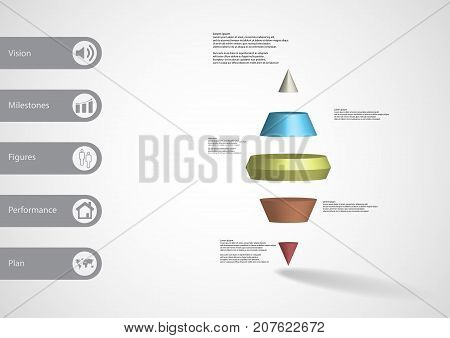 3D Illustration Infographic Template With Two Spike Cone Horizontally Divided To Five Color Slices
