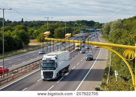 BirminghamUK - August 27 2017: Traffic on British motorway M5 near West Bromwich