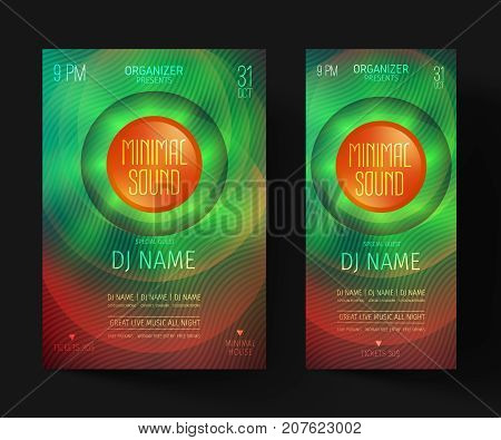 Minimal party flyer. Invitations for a night club or electronic festival in the style of house,dubstep,techno,minimal,trance,Drum and Bass or Indie rock. poster