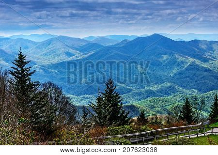 Scenic view of the Blue Ridge and Smoky mountains in North Carolina
