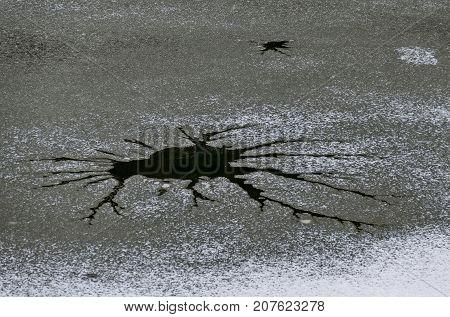 Interesting natural background of thawing at frozen lake in village Pancharevo, Sofia, Bulgaria