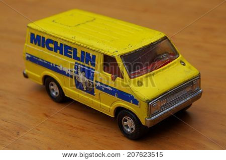Almere, The Netherlands - September 29, 2017: Michelin Dodge delivery van (K-11) made by Matchbox Super Kings in 1979.