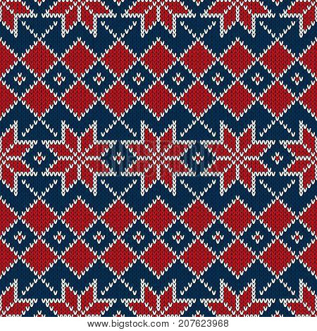 Winter Holiday Seamless Knitting Abstract Pattern. Wool Knitted Sweater Design