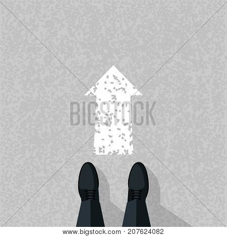 Go ahead concept. Businessman stands on asphalt before arrow pointing forward. Vector illustration flat design. Isolated on white background. Way forward. Direction to achieve goal. Look into future.