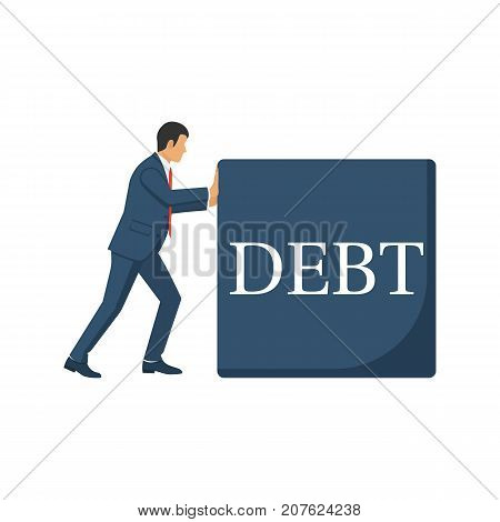 Debt concept. Businessman pushes big debt. Financial crisis, economic depression, crash financial. Vector illustration flat design. Isolated on white background. Cartoon business people.