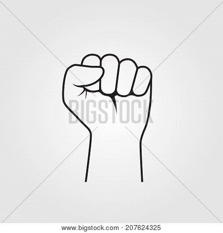 Fist hand up. Line flat design. Isolated on white background. Vector illustration. Clenched fist raised to top.  Symbol of winner.