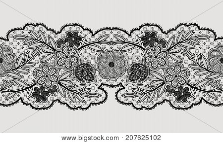 Seamless floral lace ribbon for your design. Vector illustration.
