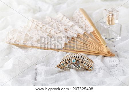 Beautiful Set Of Women's Wedding Accessories. Bride's Morning