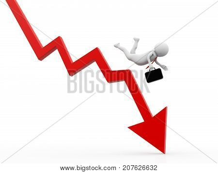 Stock Market Falling, Business Crisis Concept, Business man falling from graph, Financial crisis concept, Economic Crisis. Business fall, 3d rendering