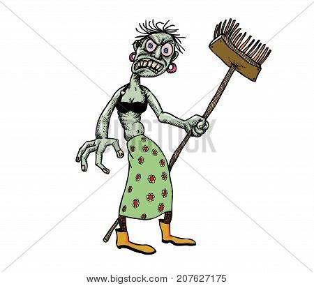 Undead monster lady cleaning hand drawn image. Original colorful artwork, comic childish style drawing.