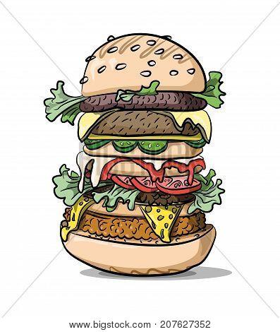 Giant tasty burger hand drawn image. Original colorful artwork, comic childish style drawing.