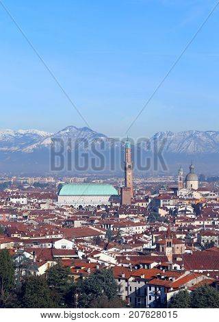 Vicenza In Italy With The Historic Monument Called Basilica Pall