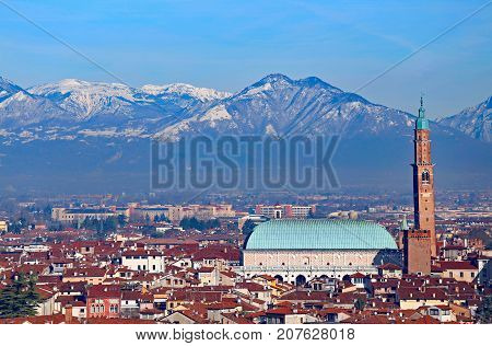 City Of Vicenza With The Historic Monument Called Basilica Palla
