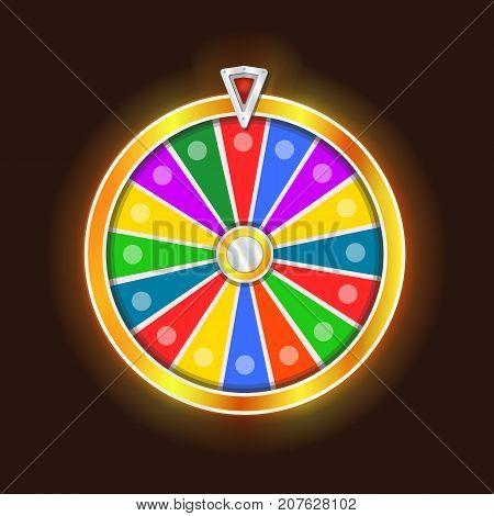 Colorful fortune wheel design. Isolated on black background illustration.