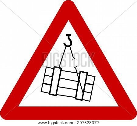 Warning sign with suspended loads symbol on white background