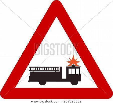 Warning sign with fire truck or station symbol on white background