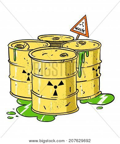 Radioactive waste barrels freehand picture. Artistic drawing.
