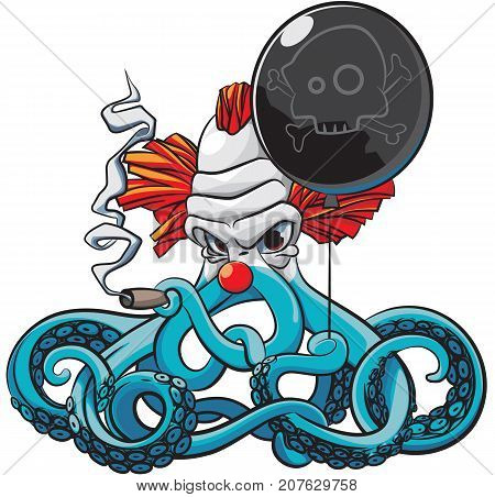 Vector colourful illustration of octopus the angry clown smoking cigar with black balloon in his tentacles isolated on white background. File doesn't contains gradients blends transparency and strokes or other special visual effects. You can open this fil