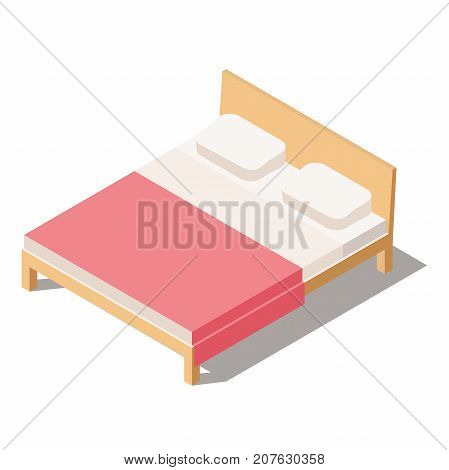 Big Bed for Two or One Person. Furniture for the Bedroom. Vector Illustration in Isometric view. 3D Bed isolated on white background. Bed with Comforter and pillows.