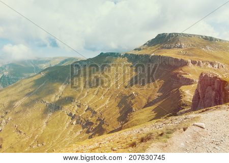 Panoramic View Over The Carpatian Mountains, Walking Paths And Beautiful Blue Sky At The Background,