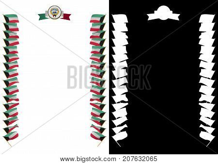 Frame And Border With Flag And Coat Of Arms Kuwait. 3D Illustration