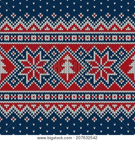 Traditional Fair Isle Style Seamless Knitted Pattern. Christmas and New Year Knitting Sweater Design