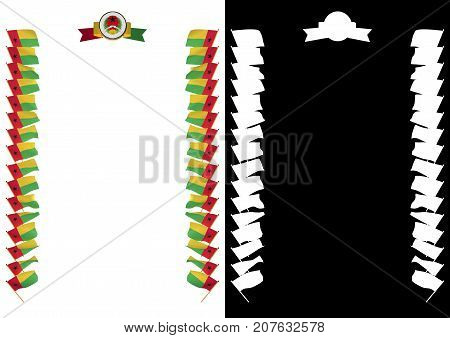 Frame And Border With Flag And Coat Of Arms Guinea Bissau. 3D Illustration