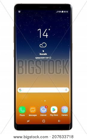 Koszalin, Poland - 03 October, 2017: Samsung Galaxy Note 8 on white background. Samsung Note 8 are new generation smartphone from Samsung. The Samsung Note 8 is smart phone with multi touch scren