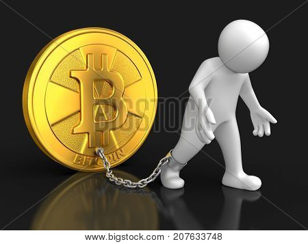 3d illustration. Man and Bitcoin. Image with clipping path