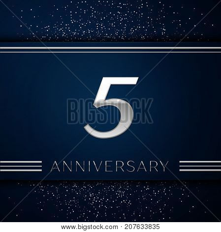 Realistic Five Years Anniversary Celebration Logotype. Silver numbers and silver confetti on blue background. Colorful Vector template elements for your birthday party