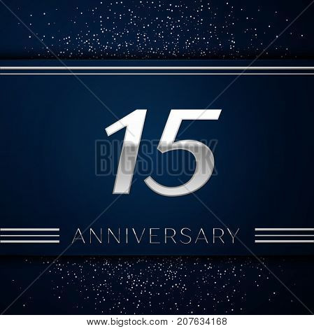 Realistic Fifteen Years Anniversary Celebration Logotype. Silver numbers and silver confetti on blue background. Colorful Vector template elements for your birthday party