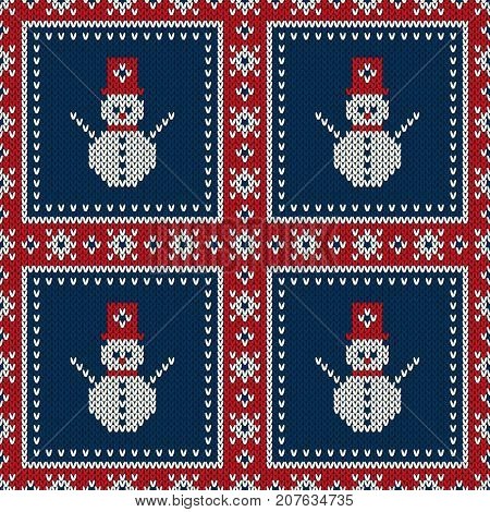 Winter Holiday Seamless Knitted Pattern with a Snowman. Knitting Patchwork Style Sweater Design. Wool Knitted Texture Imitation