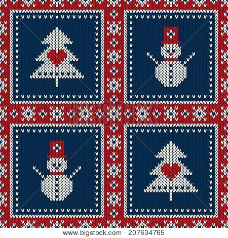 Winter Holiday Seamless Knitted Pattern with a Christmas Tree and Snowman. Knitting Sweater Design. Wool Knitted Texture