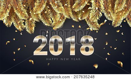 Vector stock illustration 2018 Happy New Year and Merry Christmas greeting card with shining golden text, confetti and christmas tree. Seasonal holidays background.