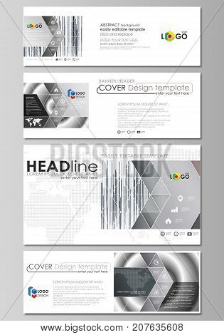 Social media and email headers set, modern banners. Abstract design templates, vector layouts in popular sizes. Simple monochrome geometric pattern. Minimalistic background. Gray color shapes