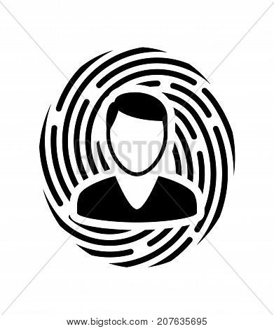 Biometrical identification. Facial recognition system concept. Face recognition. Simple icon. Vector illustration
