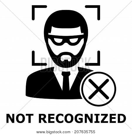 Biometrical identification. Facial recognition system concept. Thief face. Recognition regection problem. Simple icon. Vector illustration