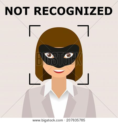 Biometrical identification. Facial recognition system concept. Recognition regection problem. Face with mask. Vector illustration