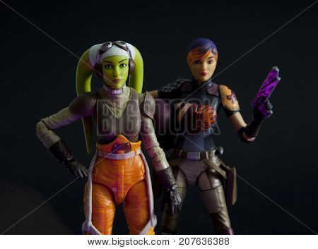 Star Wars Rebels characters Sabine Wren and Hera Syndulla ready for action - studio setting - Hasbro Black Series 6 inch action figures