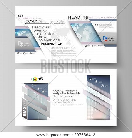 The minimalistic abstract vector illustration of editable layout of high definition presentation slides design business templates. Polygonal geometric linear texture. Global network, dig data concept