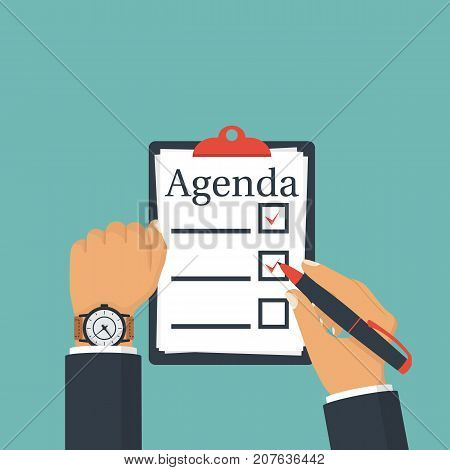 Agenda list. Vector illustration, flat design. Man holds clipboard to do list. Checklist. Clock on the businessman's hand. Isolated on background.