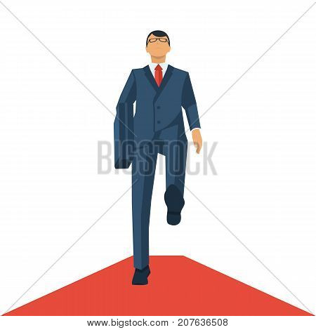 Businessman walking on a red carpet. Perspective view. Successful young man in a suit with tie with briefcase in hand. Vector illustration flat design. Isolated on white background.