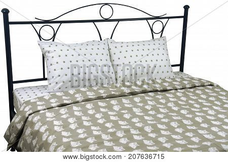 Double bed bed linen white beige with stars on a white background isolation