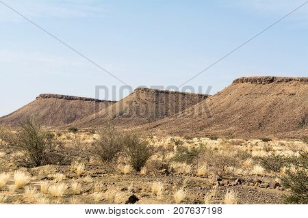 view of the wasteland on the way to fish river canyon in namibia, africa