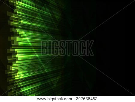 green abstract triangle and bar overlap background, geometric digital colorful color template, vector illustration
