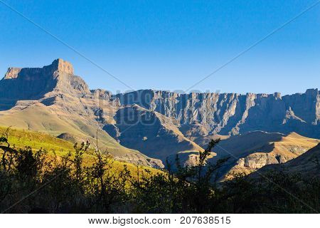 South African landmark Amphitheatre from Royal Natal National Park. Drakensberg mountains landscape. Top peaks