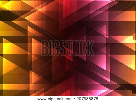 warm color triangle and square bar overlap background, geometric digital colorful color template, vector illustration