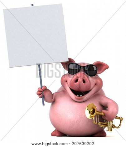 Fun pig - 3D Illustration