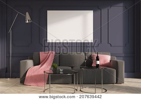 Gray Living Room Interior, Gray Sofa
